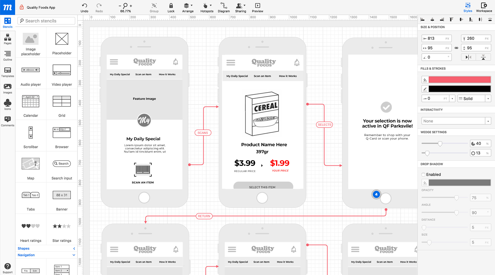 Example of wireframes for Quality Foods app