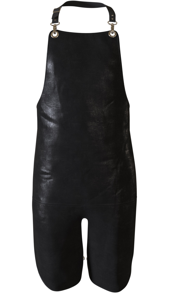 Plain black leather apron